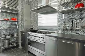 silver grey kitchen decoration using black white glass mosaic tile