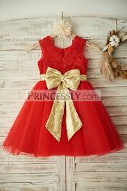 red lace tulle wedding flower dress christmas party dress