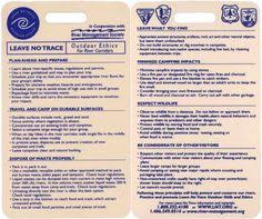 ethics reference cards leave no trace cub scout ideas