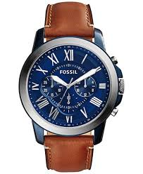 fossil steel leather bracelet images Fossil men 39 s chronograph grant light brown leather strap watch tif