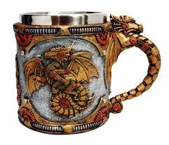 golden fire wheel steampunk cyborg dragon beer stein tankard