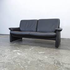 sofa leder laauser designer sofa black leather three seat modern for