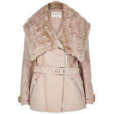 river island taupe leather look belted faux fur coat in brown lyst