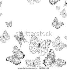 background pattern butterflies black white stock vector
