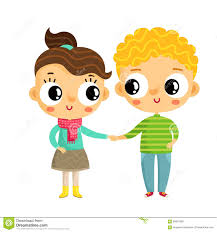 cartoon and boy holding hands cute vector characters isol