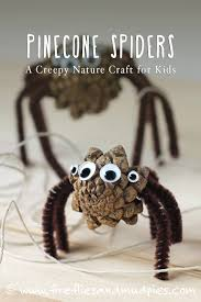 pinecone spiders a halloween nature craft for kids nature