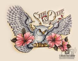white owl and habiscus flower design hawaii by
