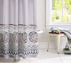 Orange And Blue Shower Curtain Pia Bordered Shower Curtain Pottery Barn