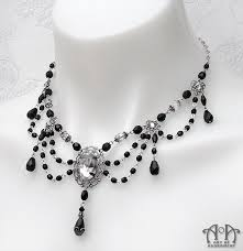 chain necklace with beads images Luminosa gothic black glass teardrop beaded necklace art of jpg