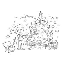 coloring outline cartoon boy decorating christmas tree