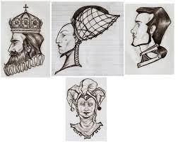 king queen of hearts gambling card tattoo design photo 3 photo