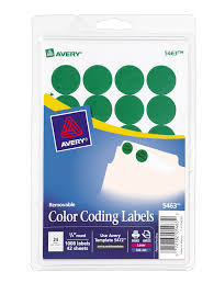 avery removable color coding labels green 1 008 labels 5463