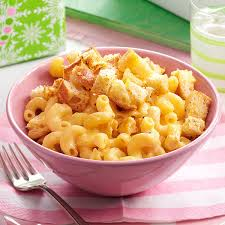 macaroni and cheese with garlic bread cubes recipe taste of home