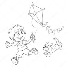 coloring page outline of cartoon boy running with kite with dog