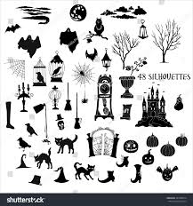vector halloween halloween silhouettes set hand drawn elements stock vector