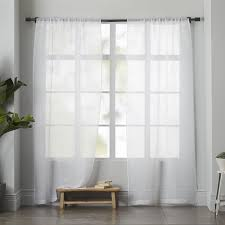 sheer linen curtain white west elm