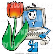 clip art of a desktop computer monitor mascot cartoon character