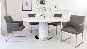 White Dining Room Chairs Round White Gloss Extending Dining Table And Real Leather Dining
