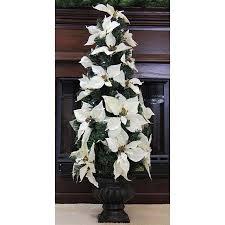3 pre lit b o white artificial poinsettia potted tree