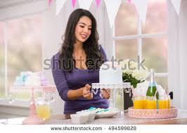 beautiful woman home holiday birthday themed stock photo 494599828