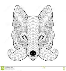 hand drawn zentangle tribal fox face for anti stress color