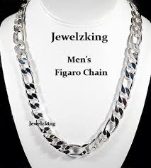 gold metal chain necklace images Mens 12mm 14k white gold finish silver italian figaro chains gif