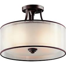 Drum Ceiling Lighting Semi Flush Fitting Traditional Low Ceiling Bronze Fitting Light