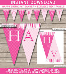 princess party banner template birthday banner editable bunting