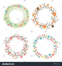 decorative autumn summer wreaths seasonal stock vector