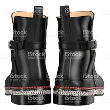 mens leather black boots back view stock photo istock