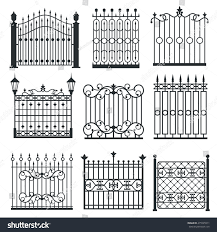 metal iron gates grilles fences ornamental stock vector 475595911