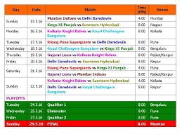 2016 ipl match list ipl 9 2016 schedule time table final confirmed youtube