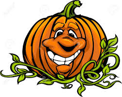 cartoon image of a happy halloween pumpkin jack o lantern head