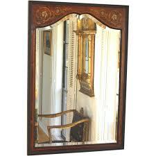 Beveled Mirror Antique Inlaid Wood Edwardian Beveled Mirror From