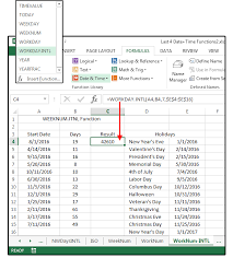 excel date and time functions weeknum isoweeknum workday