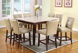 High Top Dining Room Table Acme Britney 9 Pc Square Marble Top Counter Height Table Set By