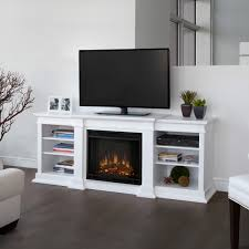 rectangle white wooden tv table with fireplace and racks on grey