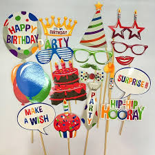 Cake Decorations Store 18 Pcs Photo Booth Props Kids Happy Birthday Party Decorations