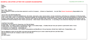 cleaner housekeeping offer letter
