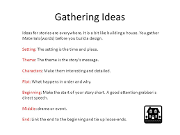 stories gathering ideas creating characters mind mapping ppt