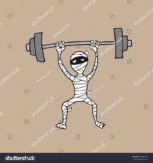 halloween mummy weight lifting cartoon drawing stock vector