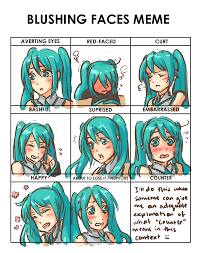 Blushing Meme - blushing faces meme miku by missmeggsie on deviantart