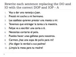 spanish double object pronouns worksheet and quiz advanced tpt
