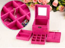 jewelry box necklace organizer images 3 layer velvet jewelry box case earring ring necklace organizer jpg