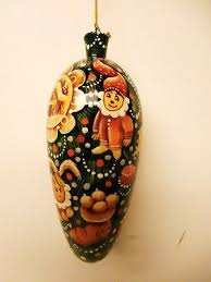alkota russian hand painted wooden christmas ornament with