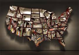 made of america bookcase shaped like the 50 states