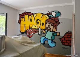 chambre minecraft collectif la coulure graffiti lyon chambre d enfant minecraft