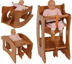 amish childs 3 in 1 high chair rocking horse childs desk oak or cherry