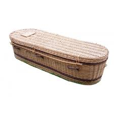 coffin prices golden brown wicker willow sovereign oval style coffin top