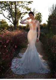 lace mermaid wedding dresses sleeve high neck lace see through back trumpet mermaid wedding